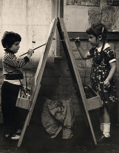 Painting with Roberta Lampert in nursery school, ca. 1956. I am the painter on the right.